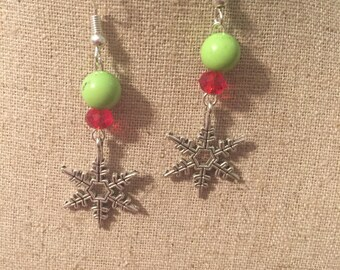 Red and green snowflake earrings