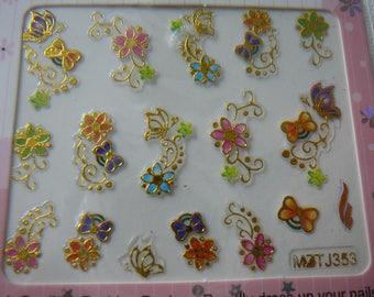 Deco, nail art. Surfboard decor patterns. REF 02: floral
