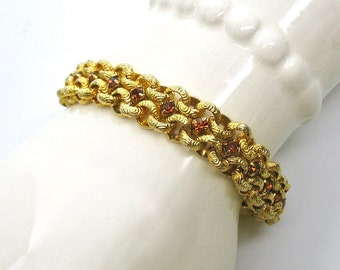 Vintage Rhinestone Bracelet, Amber Color, Box Clasp, Hidden, Etched Links, Gold Tone, Prong Set, 1960s, Heavy for Size, Well Made, Excellent