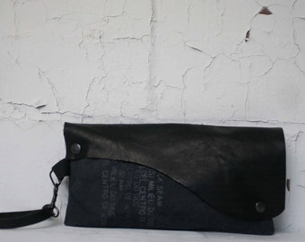 079 Black Leather Wristlet Clutch Bag , Text Gray Canvas Handbag