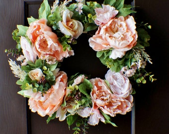 Front Door Wreath, Peony and Roses Wreath, Spring Hydrangea Wreath, New Home Door Wreath, Hydrangea Wreaths, Ready to Ship