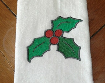 White Embroidered Finger Tip Towel  - Christmas - Holly & Berries