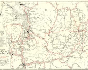 Vintage washington state map Etsy