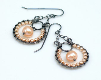 Peach Pearl Hoop Dangle Earrings, Beaded Dangles in Peach Pearls, Original Artisan Handmade Earrings, WillOaks Studio  Design, Gift for Her