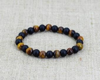 Tiger eye bracelet Black onyx bracelet African jewelry Viking jewelry for men bracelet Men gift for father day gift for dad gift for friend