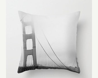 Golden Gate Bridge pillowcase - Home Accessory with artwork  - Vintage Photograph throw pillow - black and white
