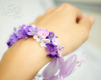 Flower bracelet - girl beaded lilac bracelet - polymer clay - flower jewelry - floral jewelry - violet bracelet - cute bracelet