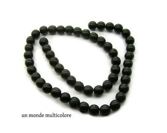 20 round beads 8 mm black howlite stone