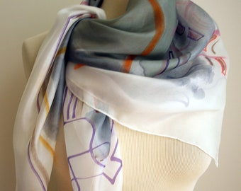 Silk scarf Handpainted- Hand Painted square Silk Scarf- Abstract style silk scarf- Giveaways -Gifts for her- 35x35in. (90x90cm)