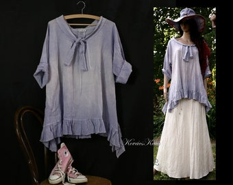 Panka Tunic - Romantic Hand Dyed Lavender Tunic with Frills Lagenlook Plus Size Clothing