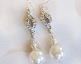 Cubic Zirconia Bridal Earrings, White Pearl Earrings, CZ Pearl Dangle Earrings, For The Bride, Bridal Jewelry Wedding Jewelry Bride Earrings
