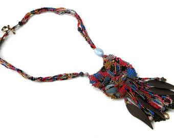 SALE ! Colorful boho necklace Bohemian beaded necklace Seed bead necklace Bead woven necklace Boho style jewelry Bohemian jewelry Freeform