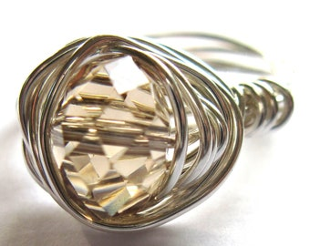 Faceted Glass Wire Wrapped Ring Any Size Fashion Jewelry
