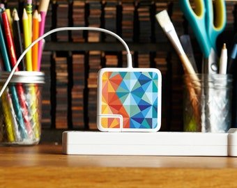 iPhone and Apple Laptop Charger Sticker - Geometric Design - Awesome tech accessory gift for college students