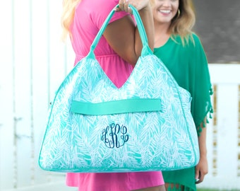 Monogrammed Mint and White Poolside Palm Beach Bag; Great Gift for Teachers, Friends & Brides