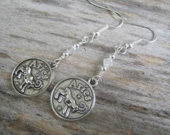 Personalized Aries Earrings, Zodiac Earrings, Aquamarine or Diamond Earrings, Swarovski Birthstone, Astrology Earrings, March April Jewelry