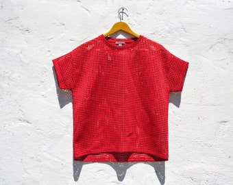 Red top avant garde top holes blouse holes top red t-shirt