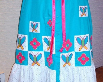 Aqua Skirt, Upcycled Long Skirt, Handmade Skirt, Butterfly Appliques, Flower Appliques, Unique Clothing, Recycled, Drawstring Waist, Ruffle