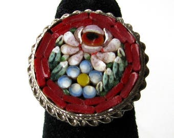 Vintage Ring Micro Mosaic Red Floral Stones Adjustable Silvertone