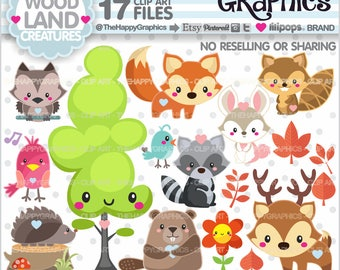 Woodland Clipart, 80%OFF, Woodland Graphic, COMMERCIAL USE, Forest Animal Clipart, Fox Clipart, Fox Graphic, Woodland Creatures