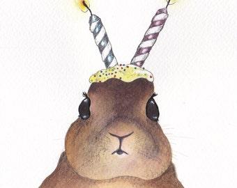 Rabbit birthday card, surreal cute bunny - Design No 72