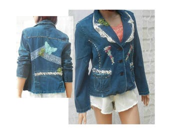 Fashion jacket, women's  blazer, Mori Girl jacket ,  Blue jacket,  feminine clothing,  one of a kind jacket,  Size P/L ,# 7