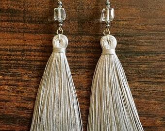 Tassel Earrings, Handmade tassel earrings, Long earrings, Black earrings, Gray earrings, Dangle earrings, Women's jewelry, Statement earring