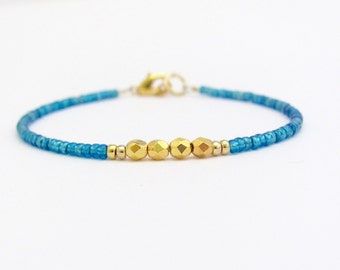 Blue Beaded Bracelet Seed Beads Dainty Friendship Jewelry, Minimal stacking Layering Petite Wedding Bridesmaid Gift Teen Tween Woman Girl
