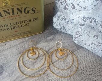 Earrings dangling lotus