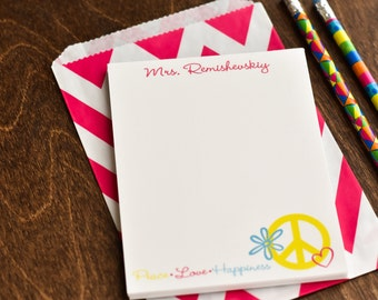Personalized Notepads / Peace and Love Notepads / Personalized Note Pads / Notebook / Personalized Journal / Set of 2 Peace and Love Design