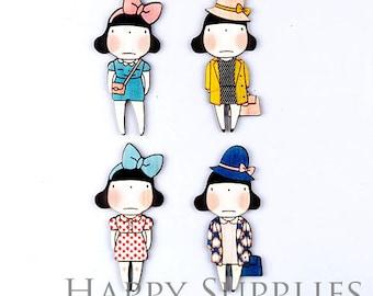 4Pcs Handmade Fashion Lady Doll Charms / Pendants (CW019)