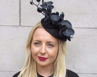 Black Sinamay Orchid Flower Fascinator Pillbox Hat Hair Clip Ascot Races 5169