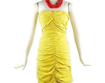 Vintage Gianni Versace Yellow Ruched Halter Summer dress Sz 44  1980s Fashion