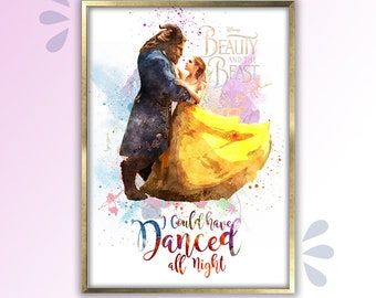 Beauty and The Beast Poster I could have danced all night Wall Art Room Decor Gifts for Her, Beauty and the Beast Poster Art