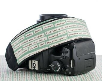 Camera Strap 001, dSLR, Happy Thoughts, Pocket, Inspirational, Quotes, SLR Camera Strap, Canon, Nikon, Camera Neck Strap, Photographer