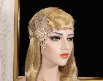 1920s Gatsby Headpiece Rose Gold 20s Gatsby Flapper dress Feather Headband Wedding Bridal Prom Headpiece Gatsby Bachelorette Hen Party