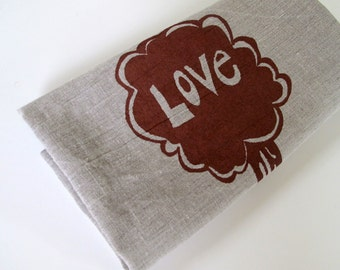 Tea Towel -  Linen Kitchen Towel - Love Tree - Choose your fabric and ink color