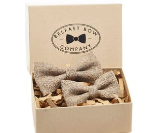 Handmade Father and Son Tweed Bow Tie Gift Set