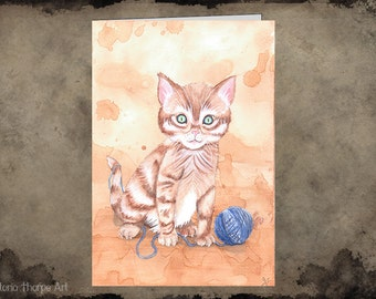 Greeting Card - Blank Inside Cat Lady Kitten Kitty Cute Yarn Wool Playing Innocent Animals Character Birthday