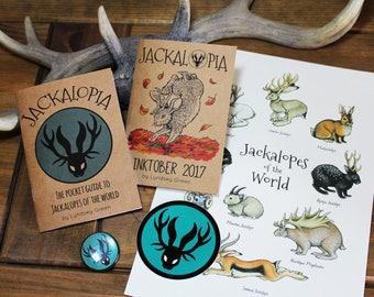 Jackalopes Zine Bundle - Jackalopia & Inktober Zines, Badge, Sticker + A4 Print