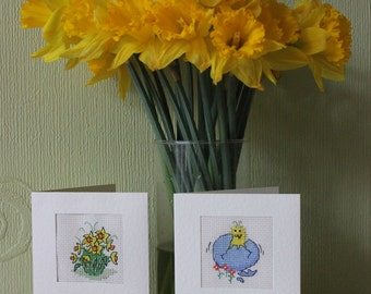 Easter Cards, Cross-stitch Greeting Cards, Daffodils, Easter Chick Card