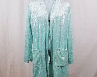 Vintage Baby Blue Velvet Hooded Robe