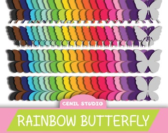 Butterfly Clip Art - RAINBOW BUTTERFLY - 4 Digital Butterflies with 20 different Color for Scrapbooking, party, instant download