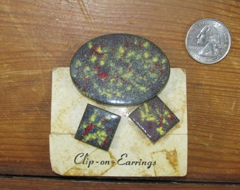 Screw On Earrings and Brooch set NIP mid century enamel on copper