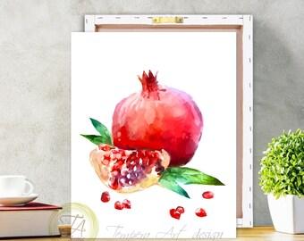 Pomegranate, Fruit Print Art, Fruit Pomegranate, Pomegranate Red Art, Pomegranate Decor, Pomegranate Art Decor, Pomegranate Print, Fruit Art