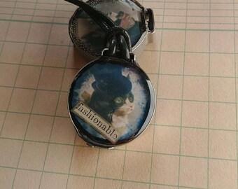 Fashionable Kitty Steampunk 2-sided Art Pendant