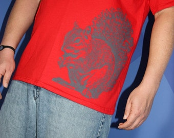 Super Squirrel TShirt, Gray on Red - Unisex S