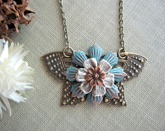LAST ONE! Butterfly Necklace, Moth Jewelry, Butterfly Jewelry, Moth, Flower, Nature Inspired, Woodland Butterfly, Wings, Bug, Insect, Bold