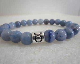 Taurus Bracelet for zodiac sign Taurus Bracelet Blue Aventurine Bracelet for men Bracelet for women Gift for men Gift women