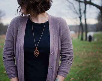 Wooden Necklace | The Foothills Pendant | Reclaimed Mahogany Wood | Minimalist Jewelry | Antique Chain | Modern Style | Women's Gift